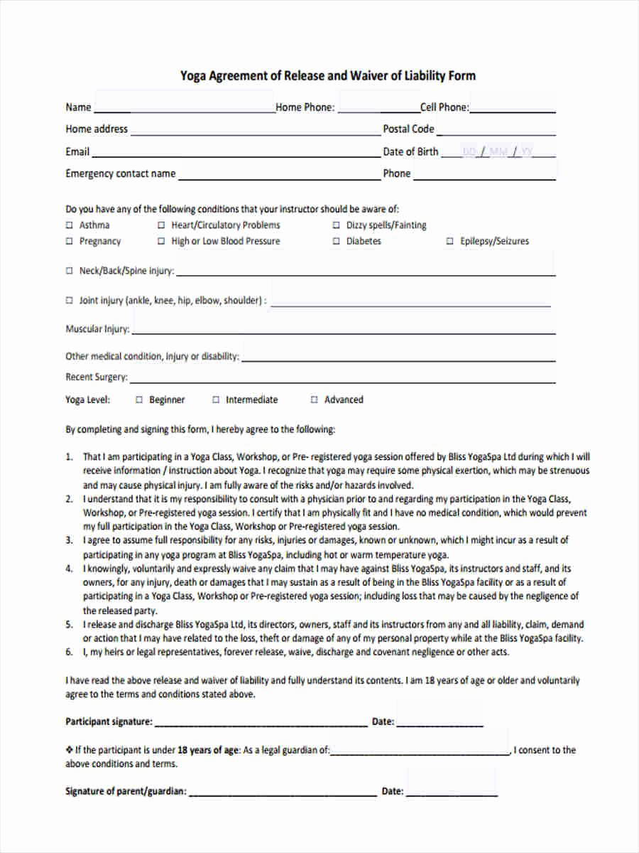 Yoga Release forms Luxury 7 Yoga Waiver form 7 Free Documents In Word Pdf