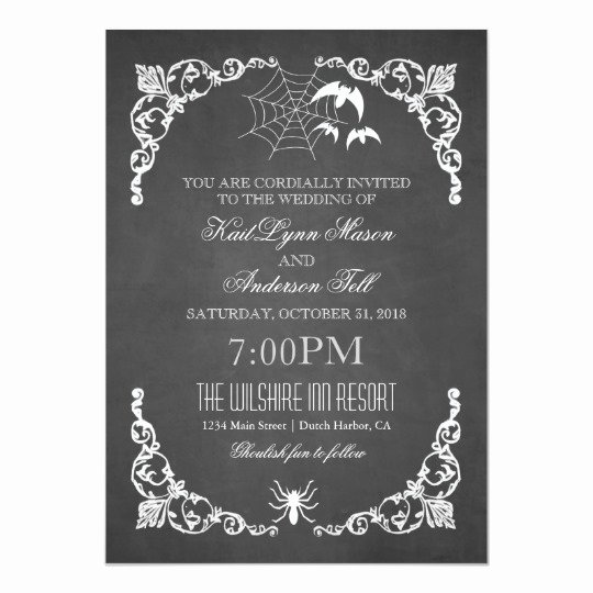 You are Cordially Invited Template Inspirational Chalkboard Wedding Halloween Bats and Spider Card