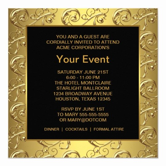 You are Cordially Invited Template Inspirational Gold and Black Corporate Party event Card