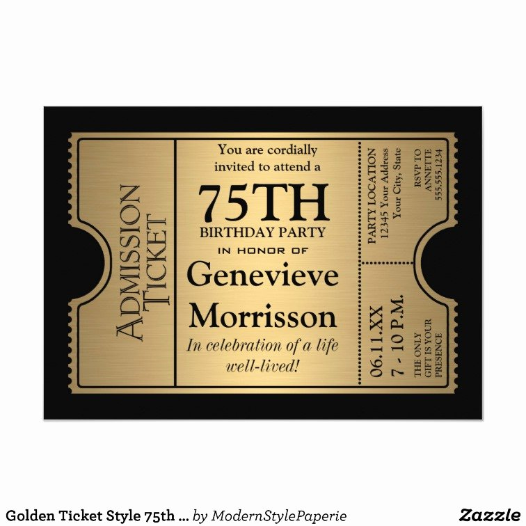 You are Cordially Invited Template Luxury Golden Ticket Style 75th Birthday Party Invite