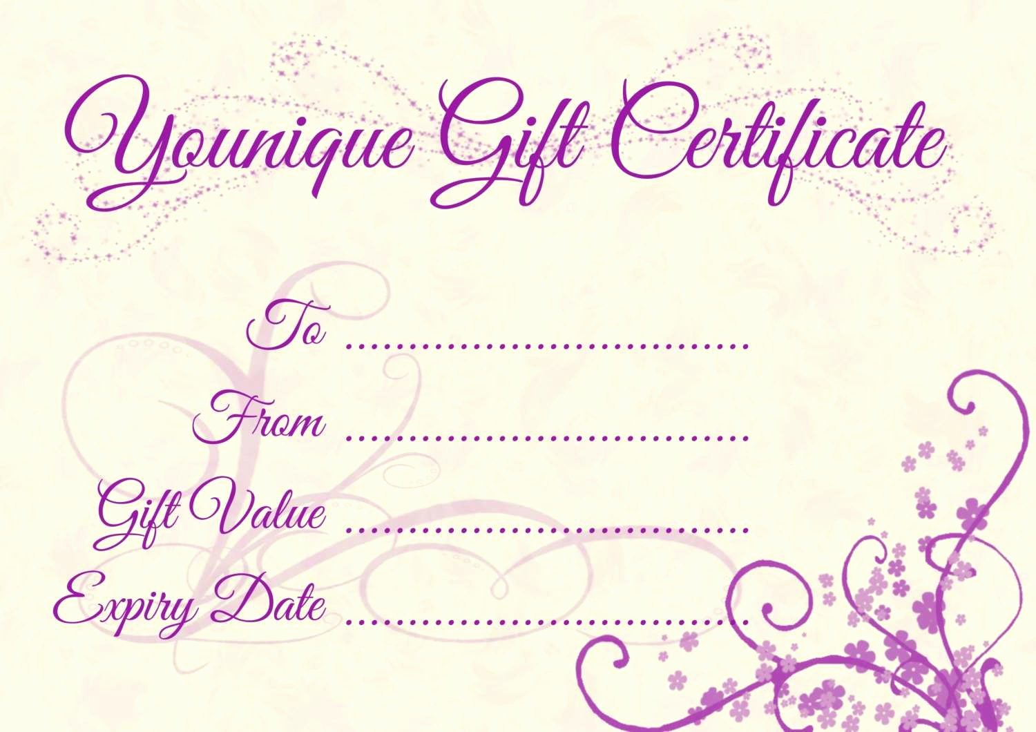 Younique Gift Certificate Template Beautiful Younique Gift Certificate Advanced Younique Gift