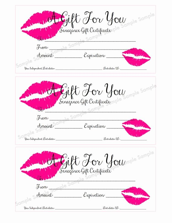 Younique Gift Certificate Template Elegant Senegence Lipsense Gift Certificate Gift Card by