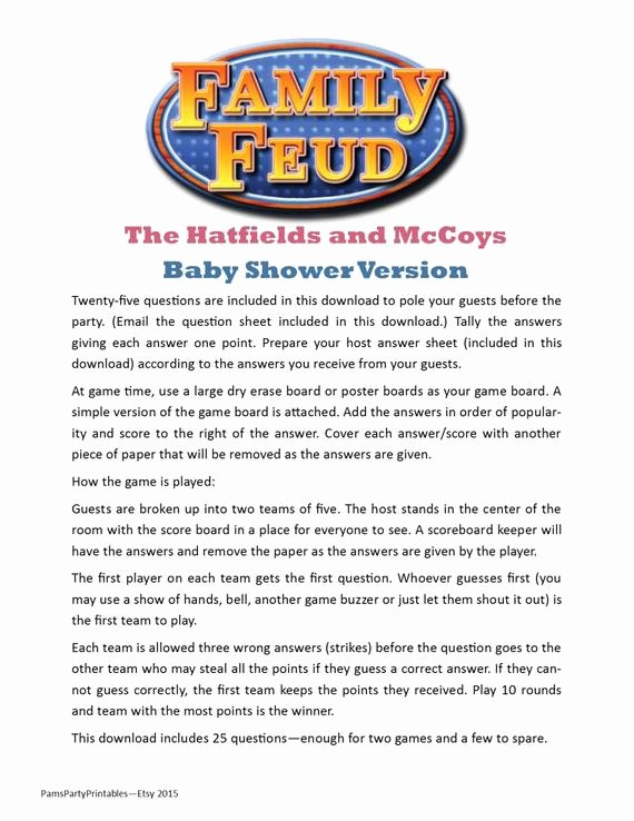 Youth Downloads Family Feud Luxury Baby Shower Family Feud Printable Game Hatfields and