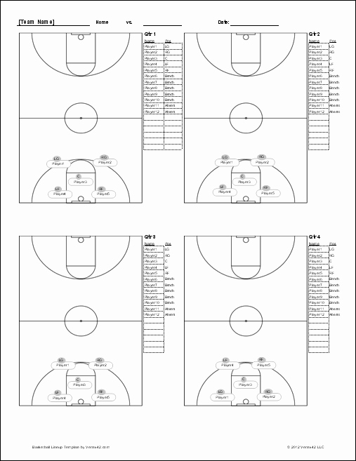 Youth Football Practice Plans Excel Awesome Basketball Lineup Sheet Screenshot