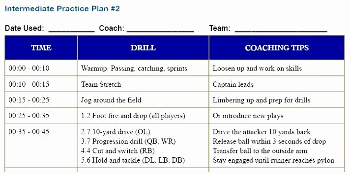 Youth Football Practice Plans Excel Beautiful 12 Youth Football Practice Plans Templates byooy