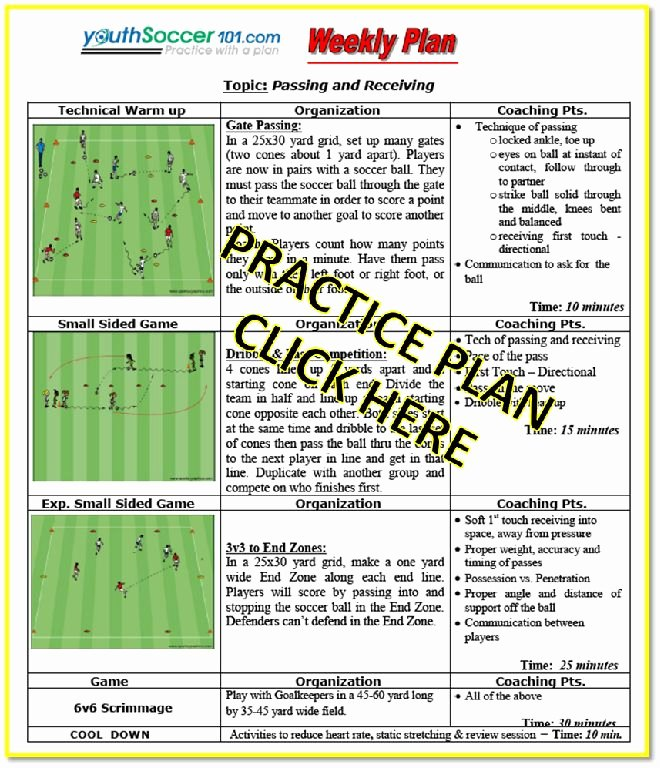 Youth Football Practice Plans Excel Elegant U9 U 10 soccer Practice Plan Passing and Receiving Ball