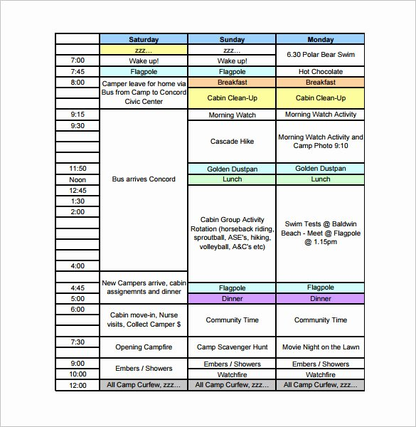 Youth Football Practice Plans Excel Unique 9 Camp Schedule Templates Doc Pdf
