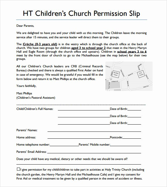 Youth Group Permission Slips Beautiful 8 Slip Samples