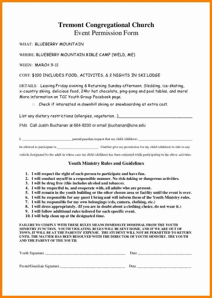 Youth Group Permission Slips Elegant 8 Church Youth Group Permission Slip Template