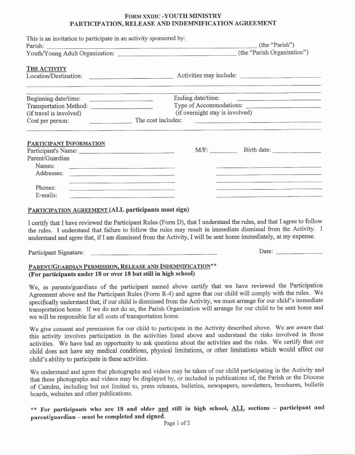 Youth Group Permission Slips Elegant Handbook forms & Fees Mary Mom Youth Faith formation