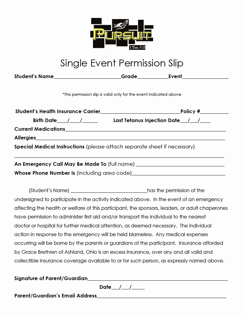 Youth Group Permission Slips New Ministry forms