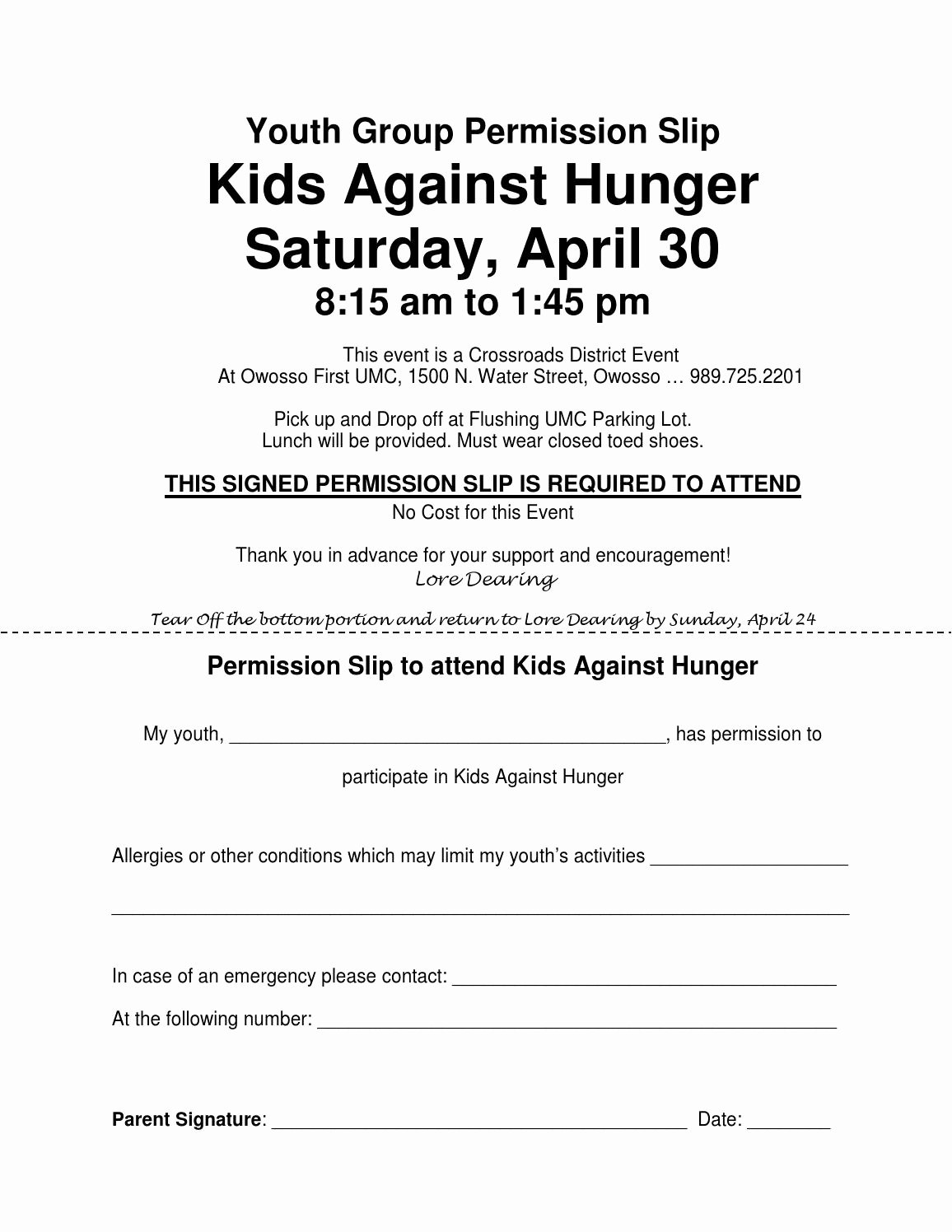 Youth Group Permission Slips New Youth Group Permission Slip Kids Against Hunger by