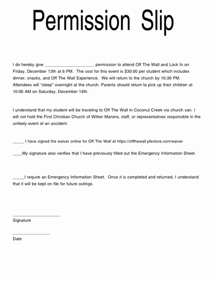 Youth Group Permission Slips Unique 28 Of Simple Youth Permission Slip Template