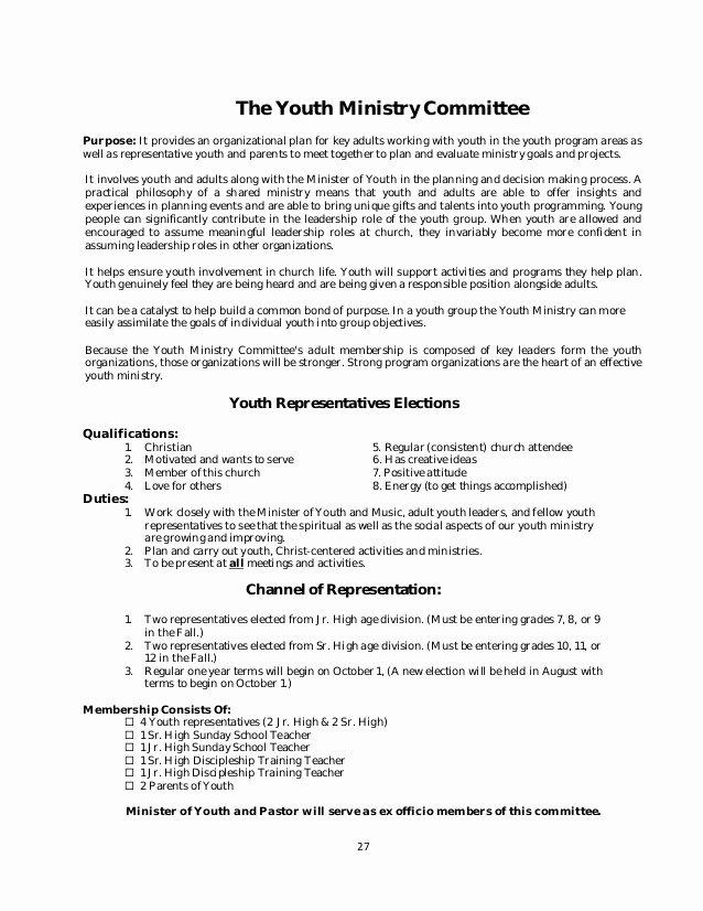 Youth Ministry Budget Template Unique Policy and Procedure Manual Church Sample